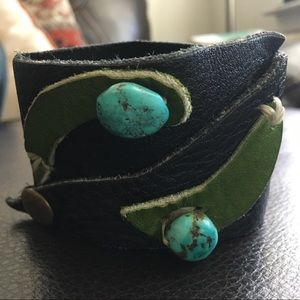 Black leather cuff with turquoise w/ green accents